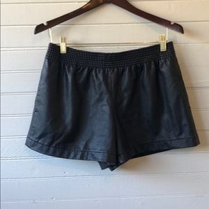 Club Monaco -perforated faux -black leather shorts